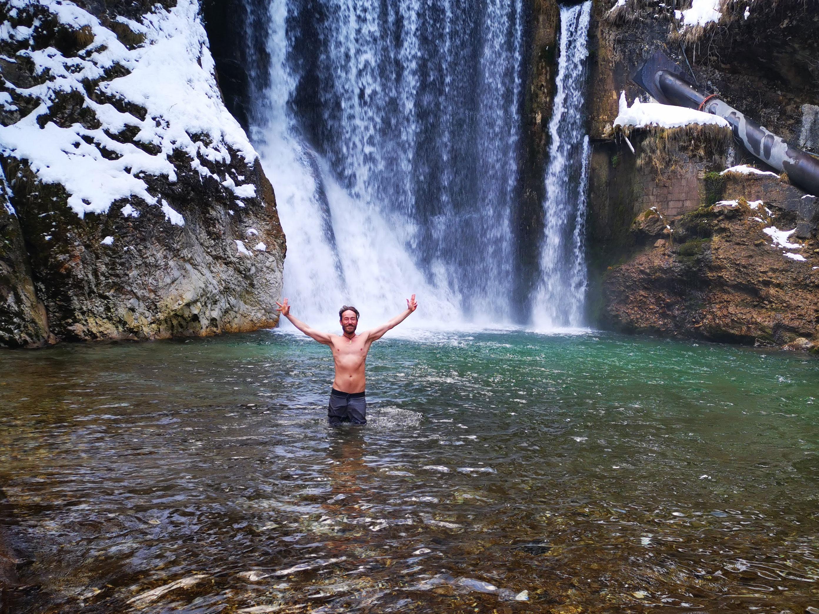 Wasserfall-Eisbaden